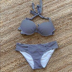 Aerie navy white striped halter bikini med…